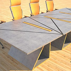 Concrete conference table triangles design by Designs by Rudy 3