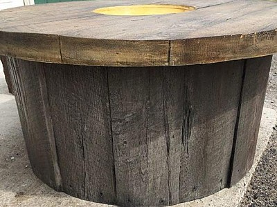 Real-Wood Concrete Gas Fire Pit